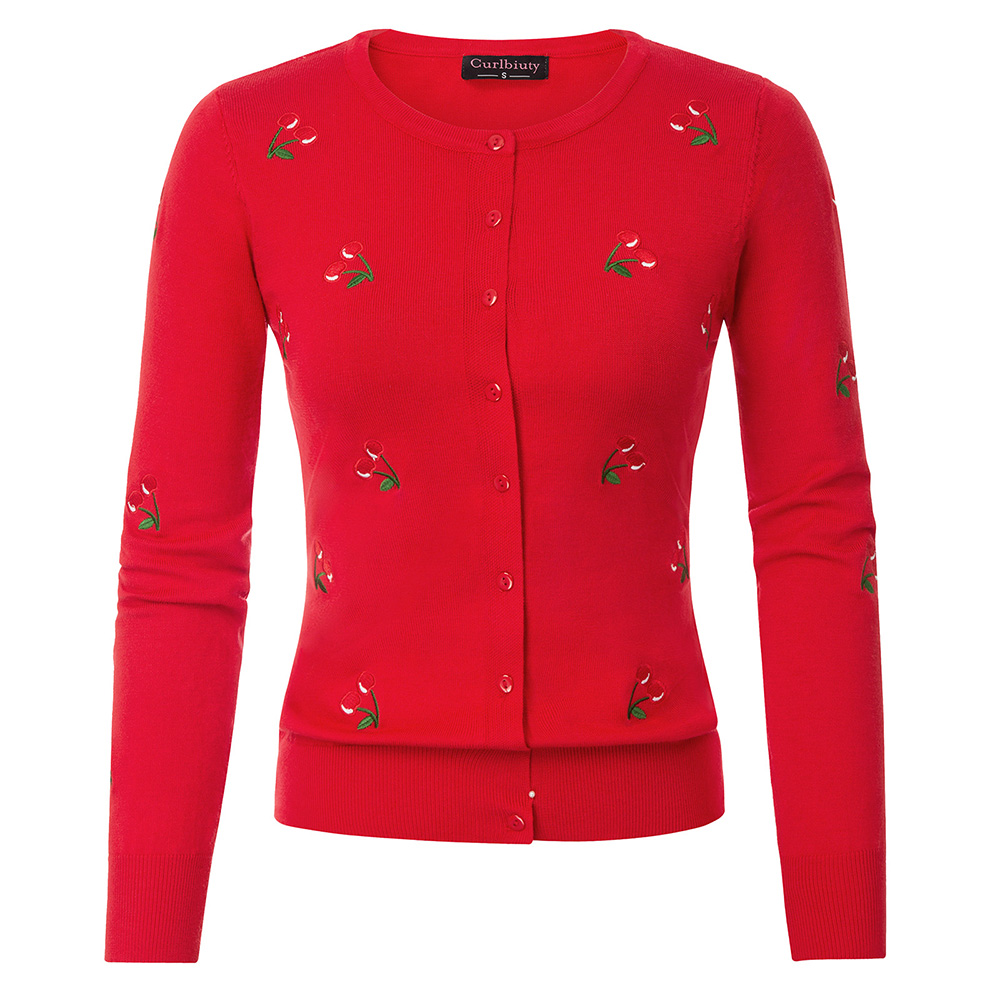Women Jumpers Cherries Embroidery Cardigan Knitted Coat Knitwear Crew Neck Long Sleeve Stretchy Slim Spring Open Stitch Coats