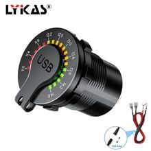 LYKAS-toma USB del coche QC 3,0, Dual USB, medidor de voltaje, interruptor de encendido y apagado, cargador de teléfono impermeable para camión, barco, adaptador de corriente