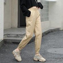 2019 Women cargo pants Casual Cotton elastic wasit trousers streetwear punk women capris loose joggers