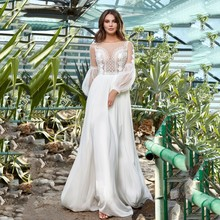 Wedding-Dress Bridal-Gown Puffy-Sleeve Lace Applique Boho O-Neck Long Floor-Length Thinyfull