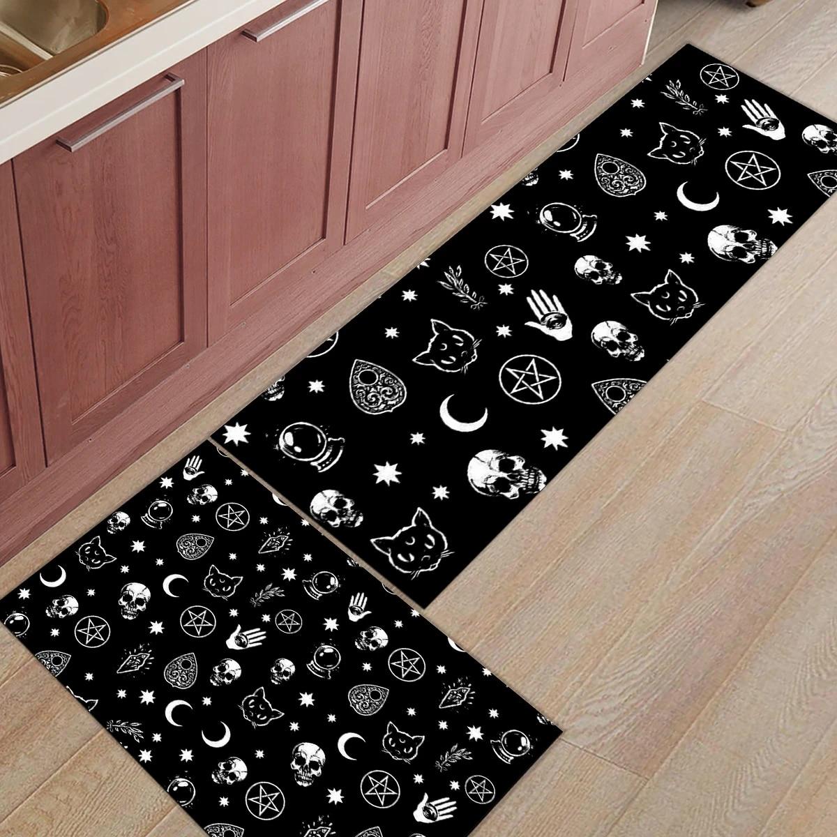 2pcs Set Black Witch Skull Moon Divination Long Kitchen Mat Carpet Floor Mat Home Entrance Doormat Living Room Floor Mats Rug Mat Aliexpress