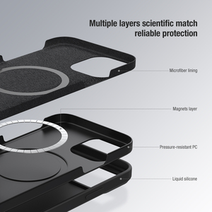 Image 4 - NILLKIN Magnetic Case For iPhone 12 Pro Max Liquid Silicone Soft Case Slide Camera Protect Privacy Back Cover for iPhone 12 Pro
