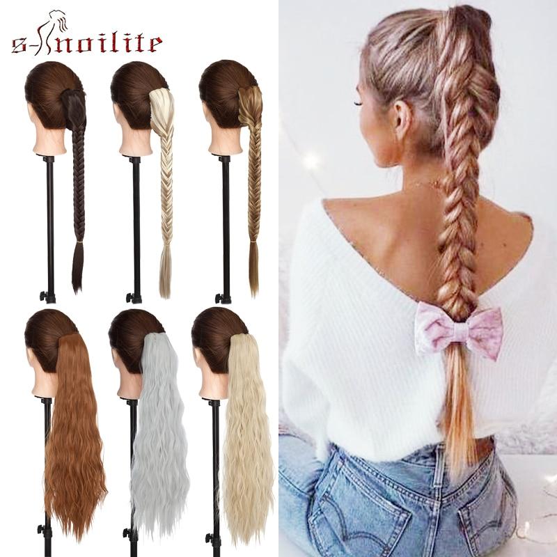 SNOILITE Long Fishtail Braid Hair Ponytail Synthetic Hair Extension Craw On Drawstring Braiding Ponytail Fake Hairpiece Women