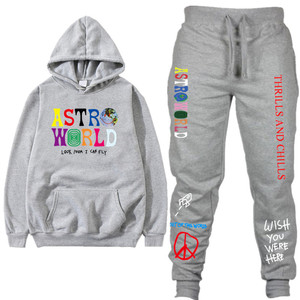 Image 3 - TRAVIS SCOTT ASTROWORLD hope You Are Here HOODIES Fashion Letters ASTROWORLD HOODIE Streetwear + Pants Mens Pullover Sweatshirt