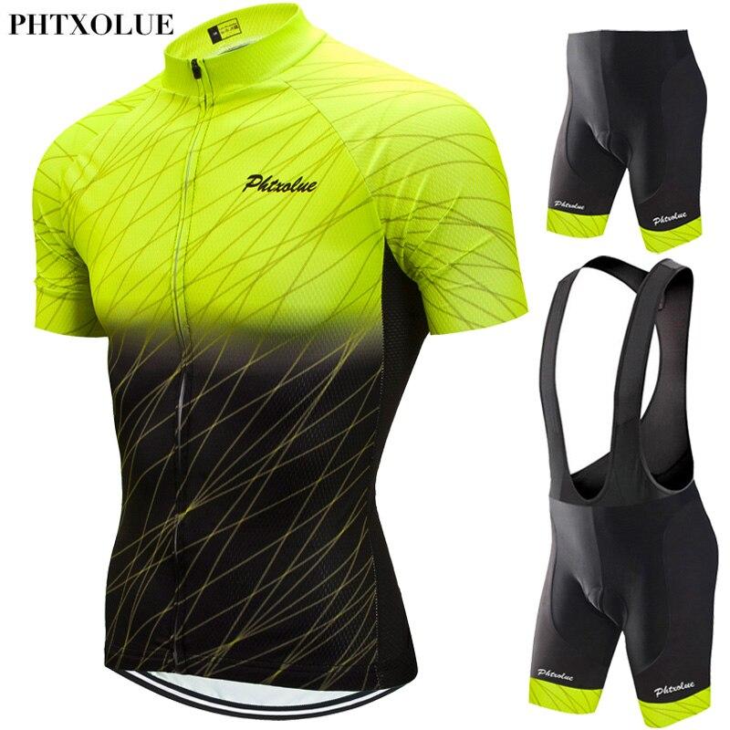 Phtxolue 2020 Ciclismo Set Uomini Vestiti di Riciclaggio MTB Della Bici Vestiti Traspirante Anti-Uv Della Bicicletta Della Strada di Riciclaggio di Usura Jersey Set