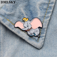 DMLSKY Dumbo Metal Enamel Pins Brooch For Dresses Backpack Badge Clothes Pin Cosplay Hat Cartoon Cute M2377