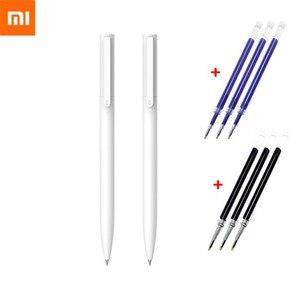 Original Xiaomi Mijia Gel Pen 9.5mm No Cap Bullet ballpoint pen Smooth Switzerland Refill Japan Black Blue Signing Mi Pens