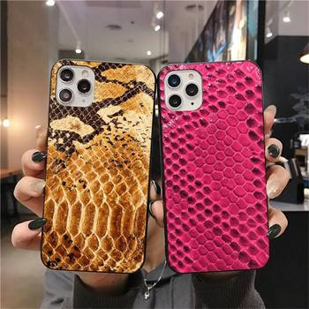 Leather Snake Scales Phone Case for iphone 12 pro max 11 pro XS MAX 8 7 6 6S Plus X 5S SE 2020 XR case image