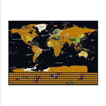 Erase World Travel Map Scratch Off World Map Travel Scratch For Map 42*30cm Room Home Office Decoration Wall Stickers