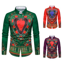 Mens Printed Shirts,mens National Shirts,3D Lapel Long Sleeve Shirts, Full