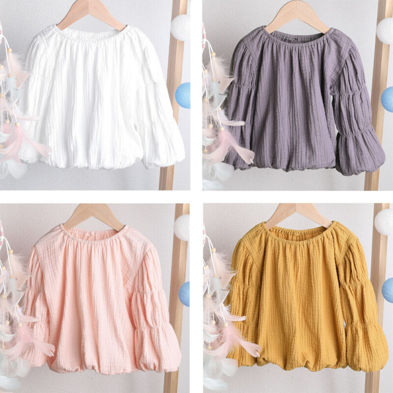 Pudcoco Blouse Lantern-Sleeve Neck-Clothes T-Shirts Baby-Girl Warm Round Newborn Tops