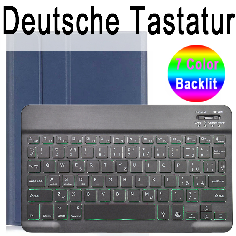 German Keyboard Standard Color Keyboard Case for iPad Air 4th 4 10 9 2020 A2324 A2072 Cover 7 Colors Backlit