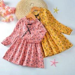 2020 primavera outono menina vestido de algodão manga longa das crianças vestido floral crianças vestidos para meninas moda meninas princesa roupas