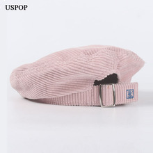 USPOP 2019 New  corduroy berets female autumn hats vintage women casual solid color adjustable beret hat