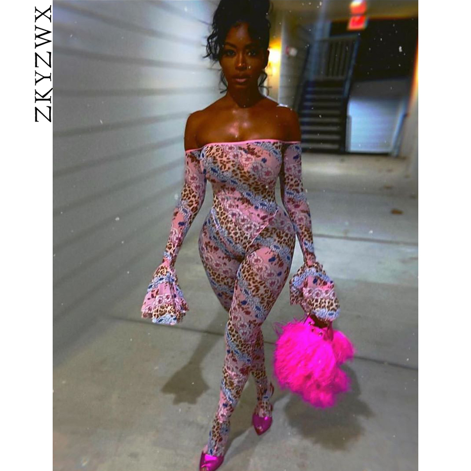 ZKYZWX Sexy Fashion Print Off Shoulder Backless Rompers Womens Jumpsuit Summer One Piece Outfits Long Sleeve Bodycon Jumpsuit