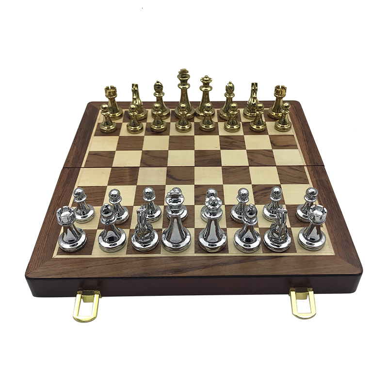 New Wooden Folding Chessboard Retro Metal Alloy Chess Pieces Chess Game Set High Quality Chessboard Gift Entertainment Yernea 4