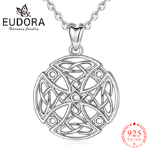 EUDORA 925 Sterling silver Round Celtics Cross Pendant Necklace Good luck Cross Charm Necklaces Fine Jewelry gift for Women D446 цена
