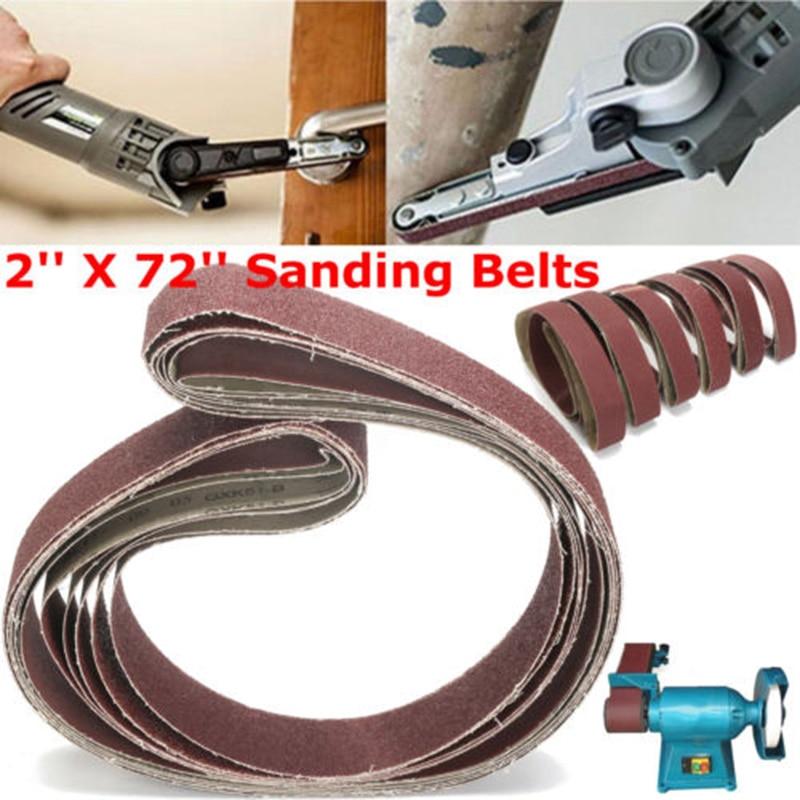 2x72 6pcs Sanding Belts 36/40/60/80/120/150 Grit Sander File Polishing 1 Set