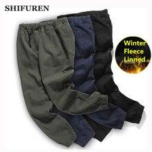 SHIFUREN Winter Warm Men Cargo Pants Thicken Fleece Elastic Waist Full Length Male Causal Cotton Overall Trousers