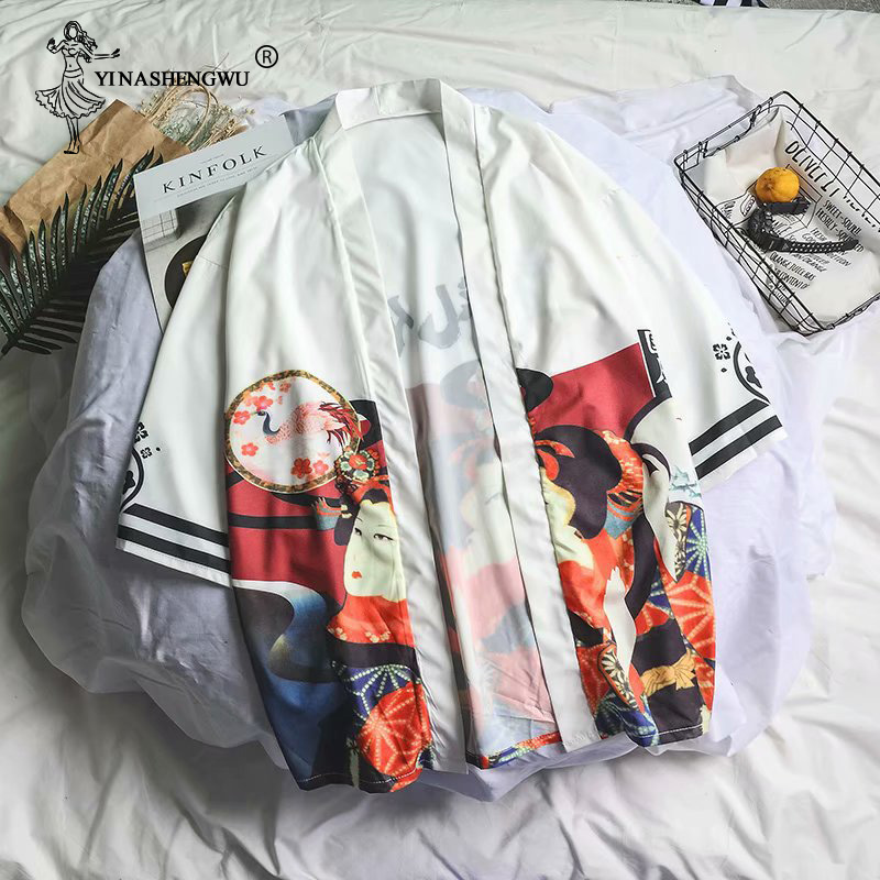 Traditional Kimono Cosplay Print Kimono Cardigan Outerwear Sunscreen Blouse Harajuku Asia Japanese Yukata Women Costume Man