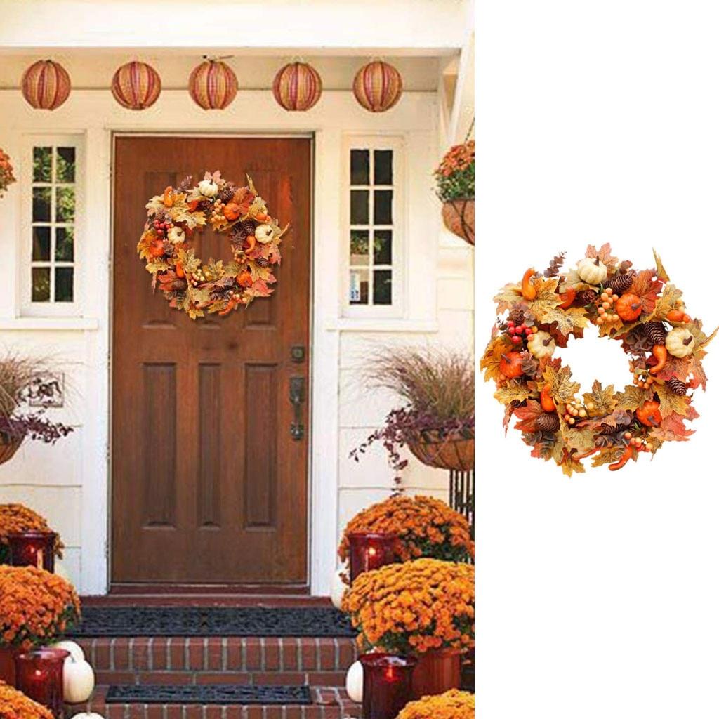 Halloween Decoration Pumpkin Maple Leaf Wreath Autumn Festival Wreath for Thanksgiving Hanging Wreaths Home Decor 50cm
