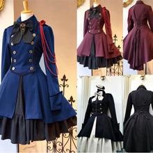 Vestido gótico Lolita victoriano Medieval Vintage rojo púrpura negro vestido de Halloween para mujeres B363