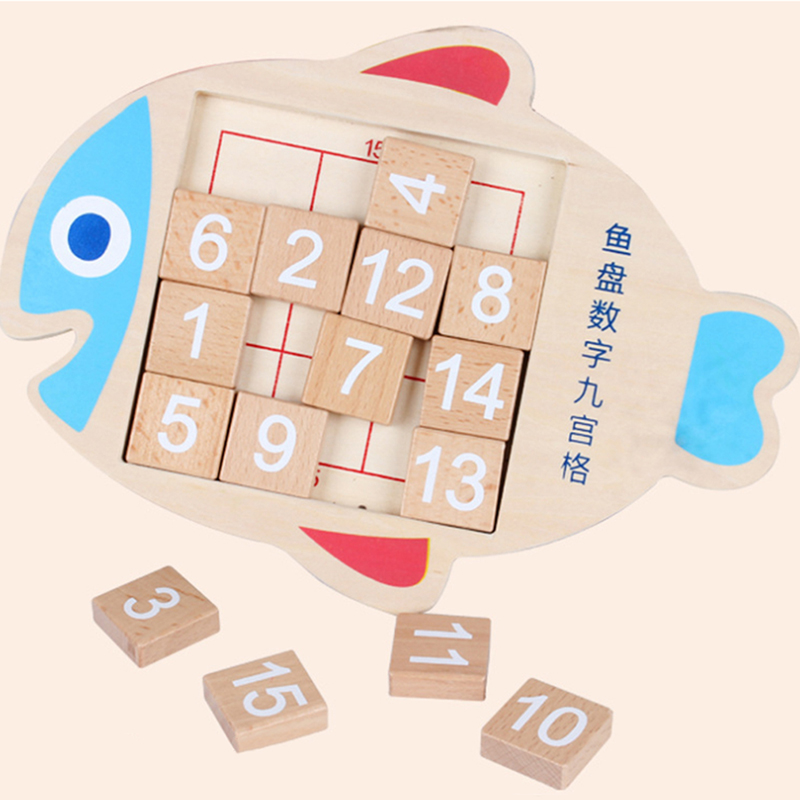 Wooden Fish Shape Digital Numbers 1-15 Brain Teaser Huarong Road Toys Kids Math Toy For Children Education Developmental Gift