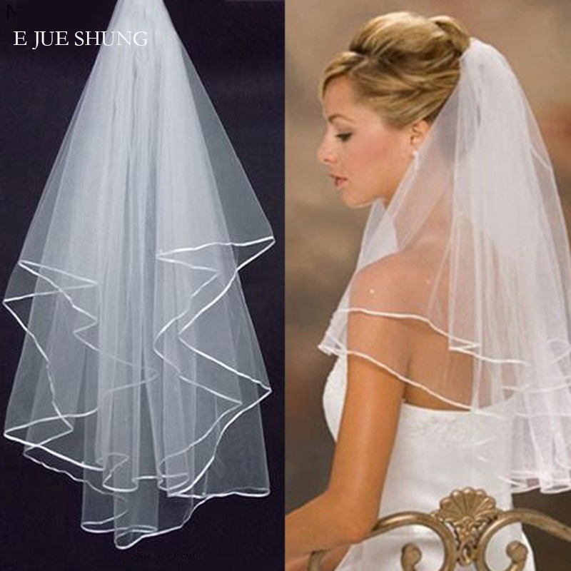E JUE SHUNG White Ivory Satin Edge Short Wedding Veils 2020 Cheap Bridal Veils With Comb Wedding Accessories