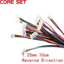 5Pcs Cabo Conector JST XH 1.25 28AWG Conectores de Fio Eletrônico Duplo 2/3/4/5/ 6/7/8/9/10 Pin 10 centímetros DIY Linha de Direção Inversa