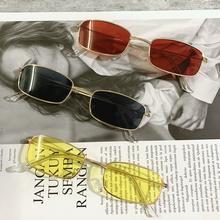 Óculos de sol retângulo óculos de sol uv400 óculos de sol de cor doce vintage óculos de sol de metal quadrado lente na moda óculos femininos