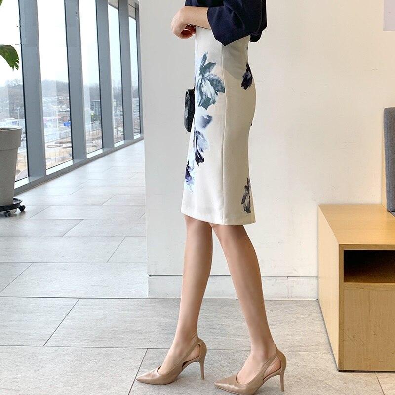 2019 Новая женская OL юбка с принтом, юбка с высокой талией, ягодицы хорошо подходят половина одна юбка, формальная Свадебная вечеринка - 2