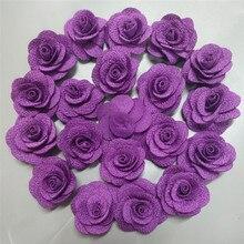 10piece/lot 3.5cm Purple Artificial Flowers Silk Ribbon Roses DIY Flower Corsage Brooch Clothes Wedding Accessories