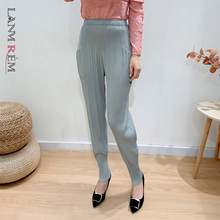 Color-Pencil-Pants Pleated Streetwear LANMREM High-Waist Women Spring for 2A3209 Gray