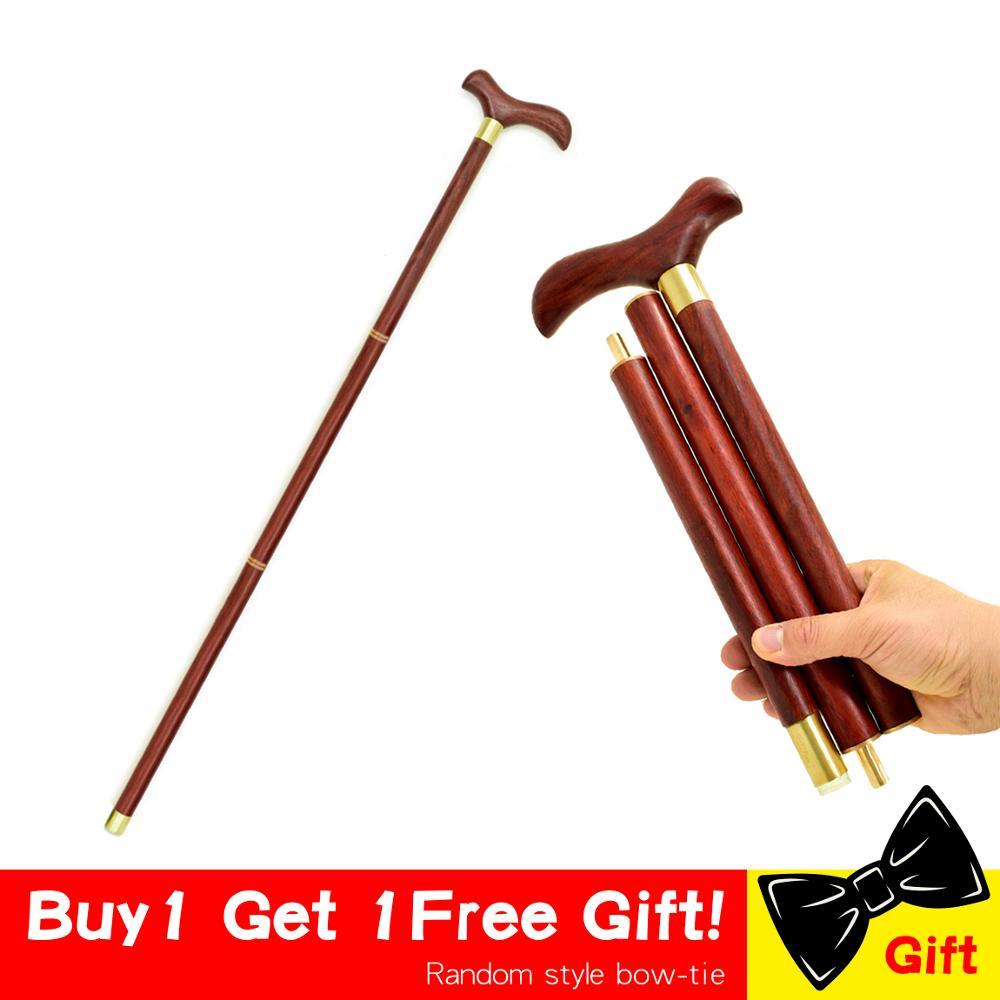 Foldable Walking Stick Cane 3-Sections Wooden Wood T Bird Handle Stick Vintage Wood Gentle Walking Cane Gentleman Stick Canes