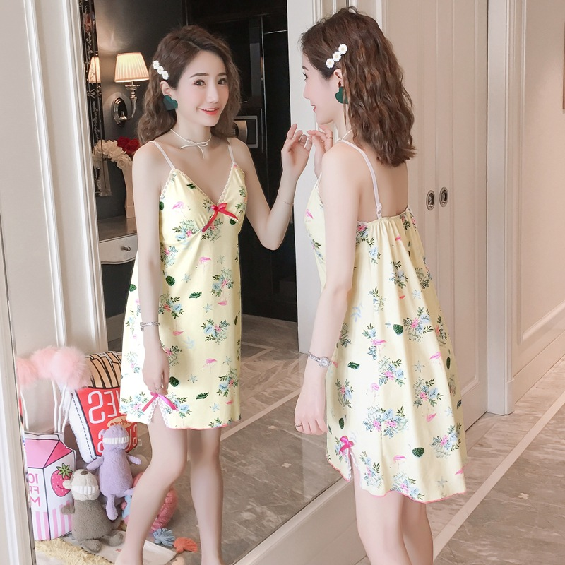 Pajamas Women's Summer-Strapped Dress Sweet Korean-style Students Cute Vest Skirt Tracksuit 180G + Chest Pad