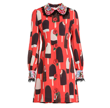 Baogarret Spring Fashion Designer Runway Dress Womens Long Sleeve Lace Flower Sequin ice cream Printing Elegant