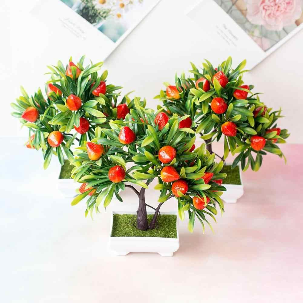 Bonsai De Arbol De Fresa De Fruta Artificial Decoracion Para El Hogar Oficina Jardin Fiesta 1 Ud Plantas Artificiales Aliexpress