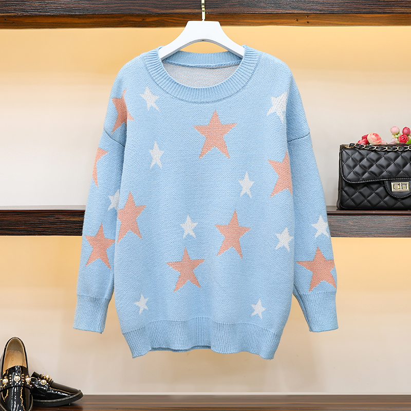 Five-pointed star round neck pullover sweater female 2019 autumn and winter new Korean version of the loose warm sweater shirt