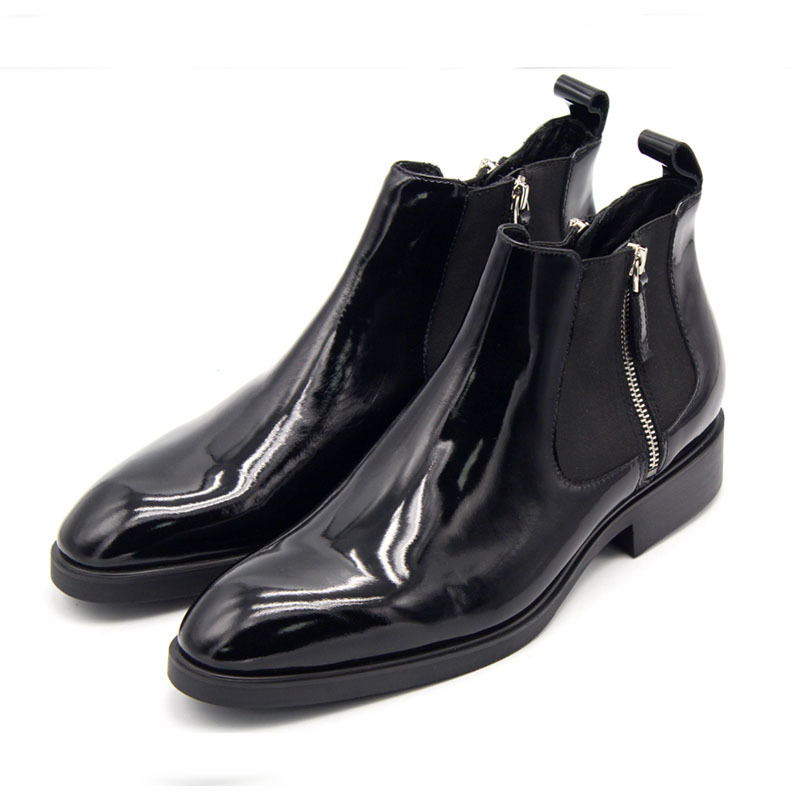 Handmade Quality Leather Zip Chelsea Boots Men British Style Pointed Toe Classic Ankle Shoes Male Plus Size 45 Botas Masculina