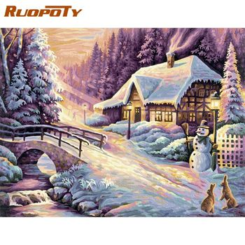RUOPOTY 40x50cm Framed Picture By Numbers Kits Handmade Unique Diy Gift Christmas Snow Scenery Photo Number Home Decors