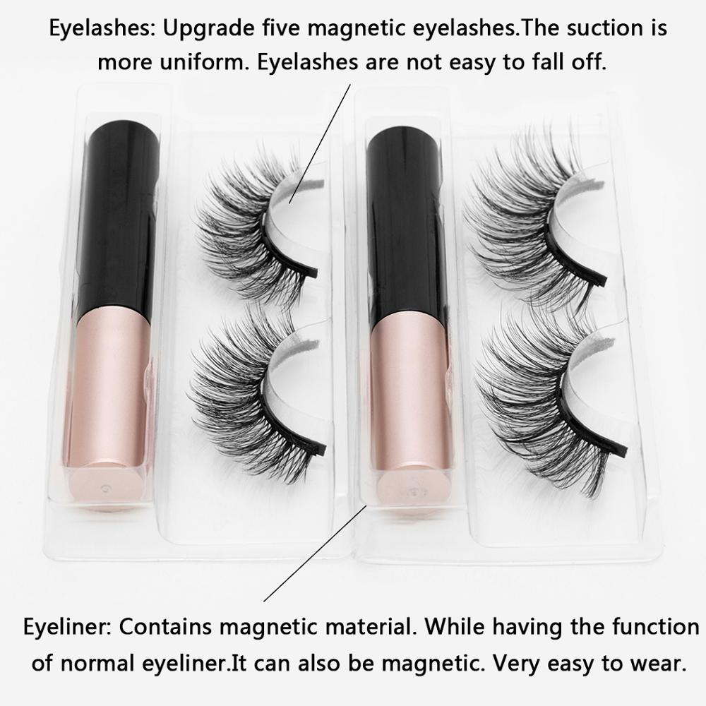Magnetic Eyelashes 3D Mink Fake Eyelash Magnet Eyeliner Mink Fake Eyelash Waterproof Liquid Tweezers Set Long Lasting Eyelash 6