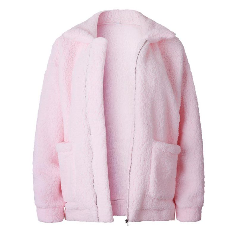 Elegant Faux Fur Coat Women 18 Autumn Winter Warm Soft Zipper Fur Jacket Female Plush Overcoat Pocket Casual Teddy Outwear 32