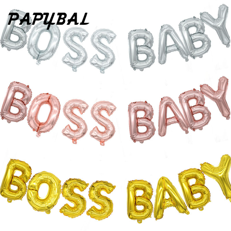 8pc 16inch Rose Gold Silver Letter Balloon BOSS BABY Party Balloons Mylar Balloons Baby Shower Balloon Kids Birthday Party Decor