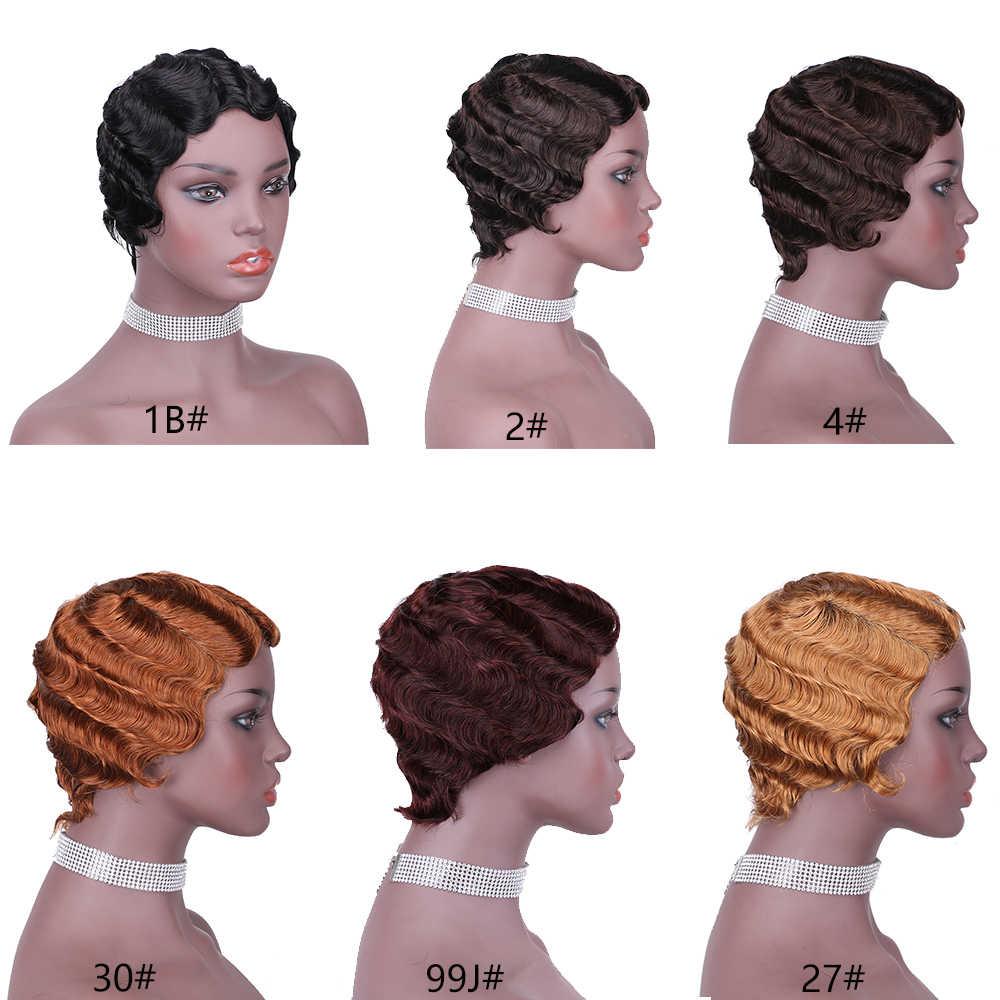 Perucas curtas para a mulher negra oceano onda de água perucas de cabelo humano curto pixie corte vermelho peruca brasileira remy cabelo humano curto afro peruca