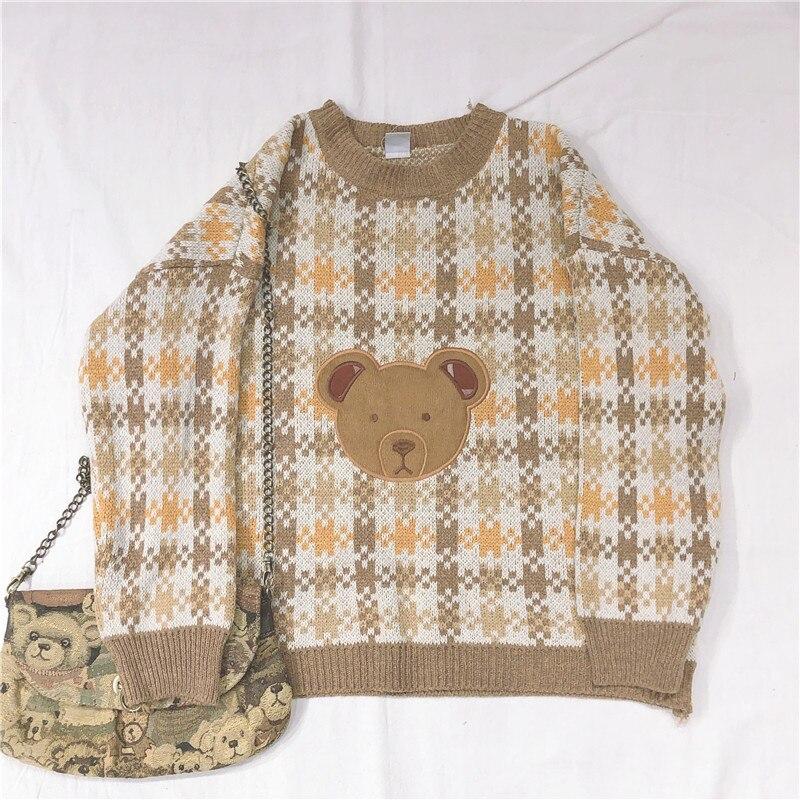 Soft Girl Round Collar Cartoon Bear Applique Jacquard Knitted Sweater Vinatge Lolita Women's Kawaii Loose Knitwear Pullovers