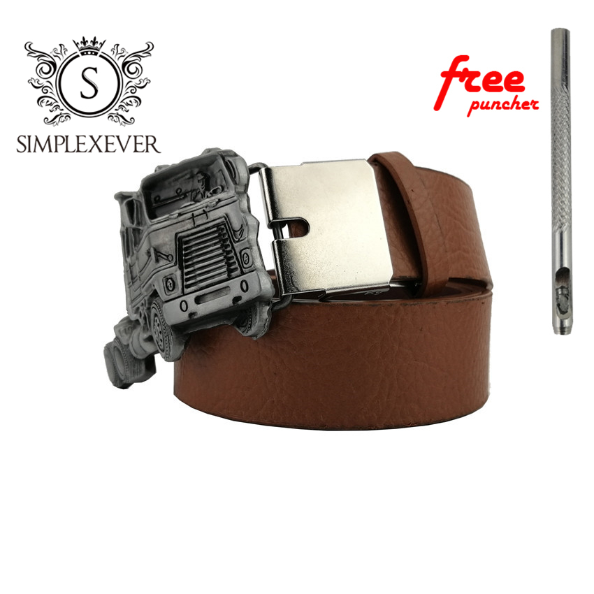 Truck Mens Belt Buckle Head Silver Finishing Metal Belt Buckle with Belt As Jeans Accessories Drop Shipping
