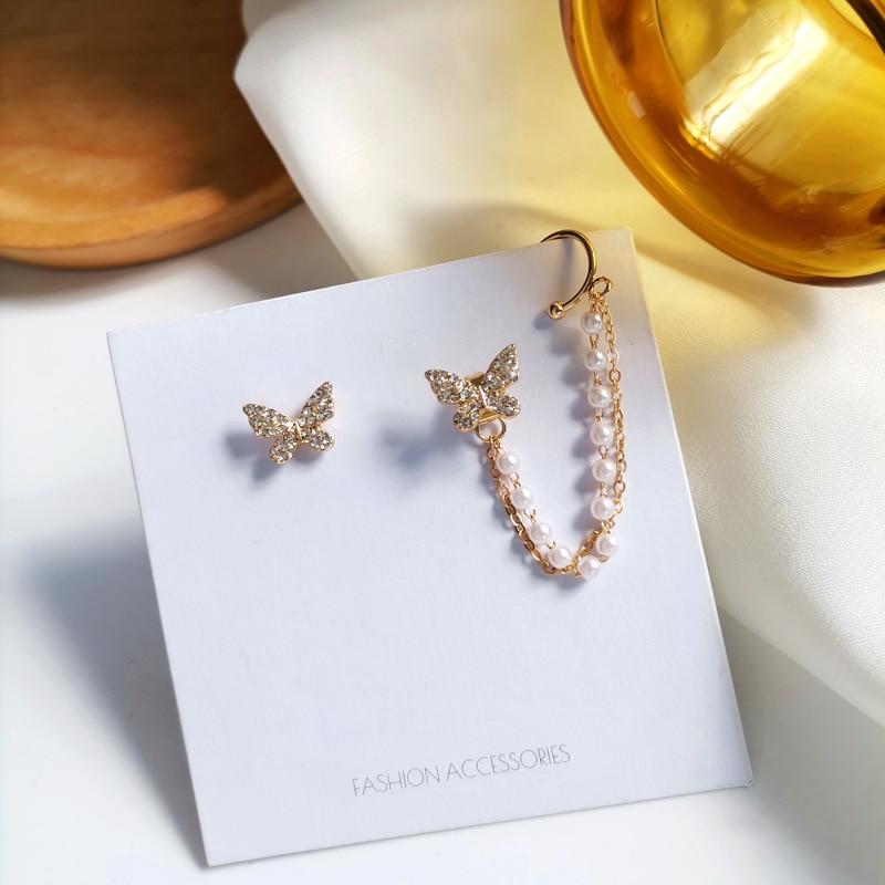 Korean Style Trendy Butterfly Earrings Creative Asymmetrical Pearl Chain Ear Bone Clip Sweet Zircon Earrings for Women