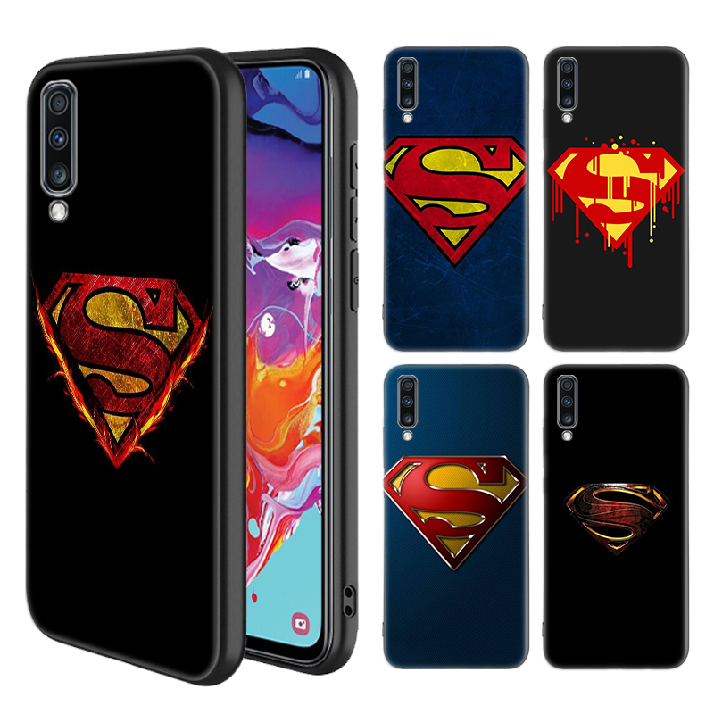 <font><b>Marvel</b></font> superman <font><b>Logo</b></font> <font><b>Case</b></font> for Sumsung <font><b>Galaxy</b></font> A50 A70 A90 A80 A60 <font><b>A30</b></font> A20e A10 A70s A50s A30s A10e Black TPU Shell Phone Coque image