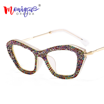 Vintage Cat Eye Sunglasses Women Fashion Oversized Bling Cateye Sun Glasses Color Rhinestones Frame Clear Lens Glasses UV400 цена 2017