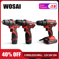 WOSAI 12V 16V 20V Cordless Drill Electric Screwdriver Mini Wireless Power Driver DC Lithium Ion Battery 3/8 Inch